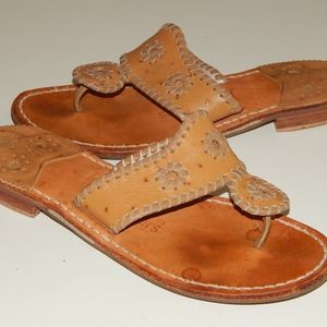 JACK ROGERS brown leather sandals 6 m